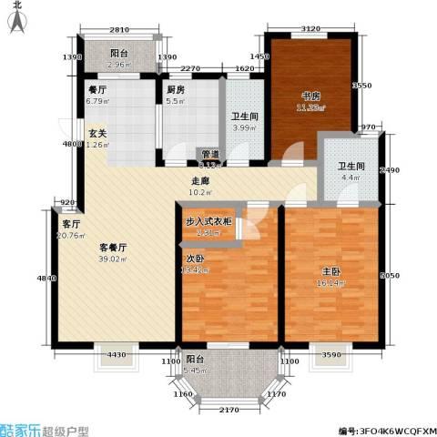 上泰绅苑3室1厅2卫1厨120.00㎡户型图