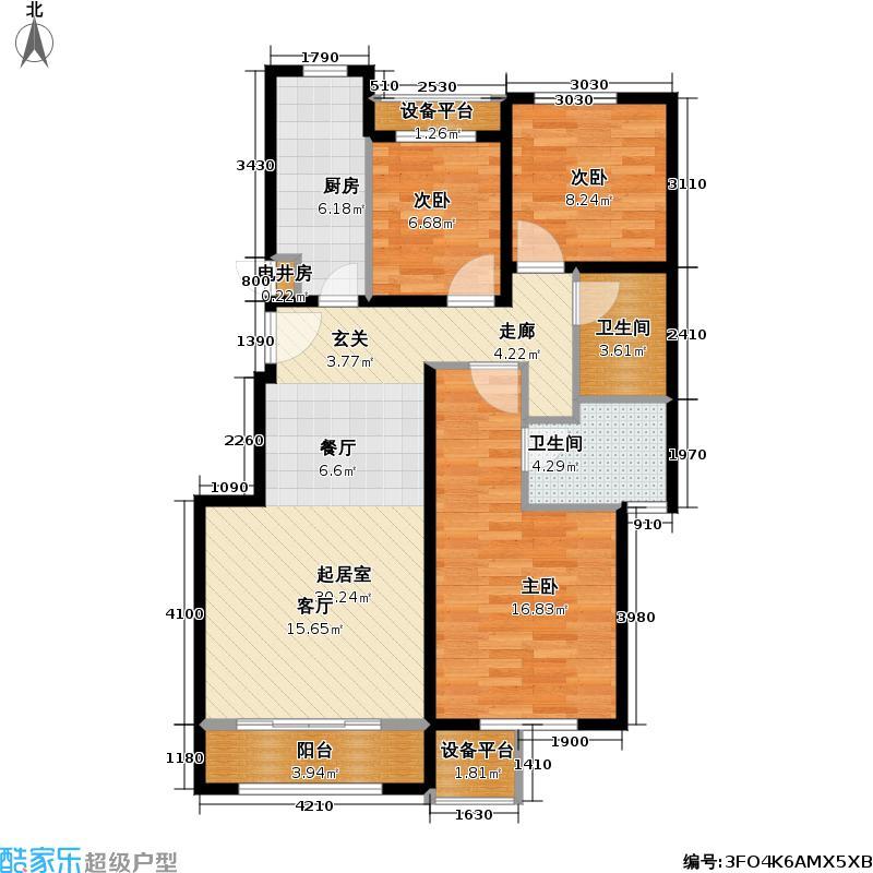 北京苏活四区1、3号楼4-D'户型3室2卫1厨