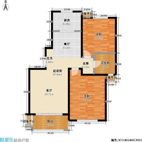 新时代景庭2室0厅1卫1厨128.00㎡户型图