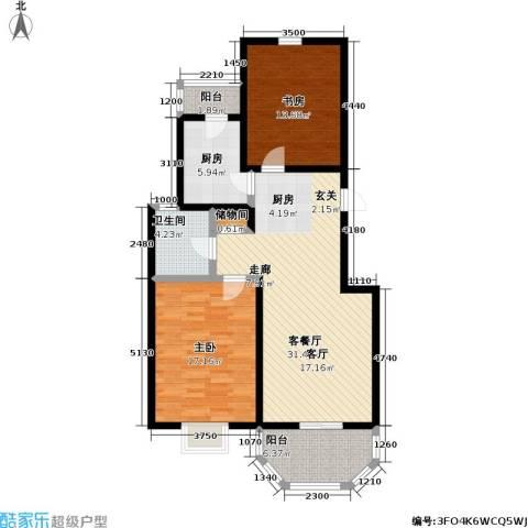 上泰绅苑2室1厅1卫1厨90.00㎡户型图