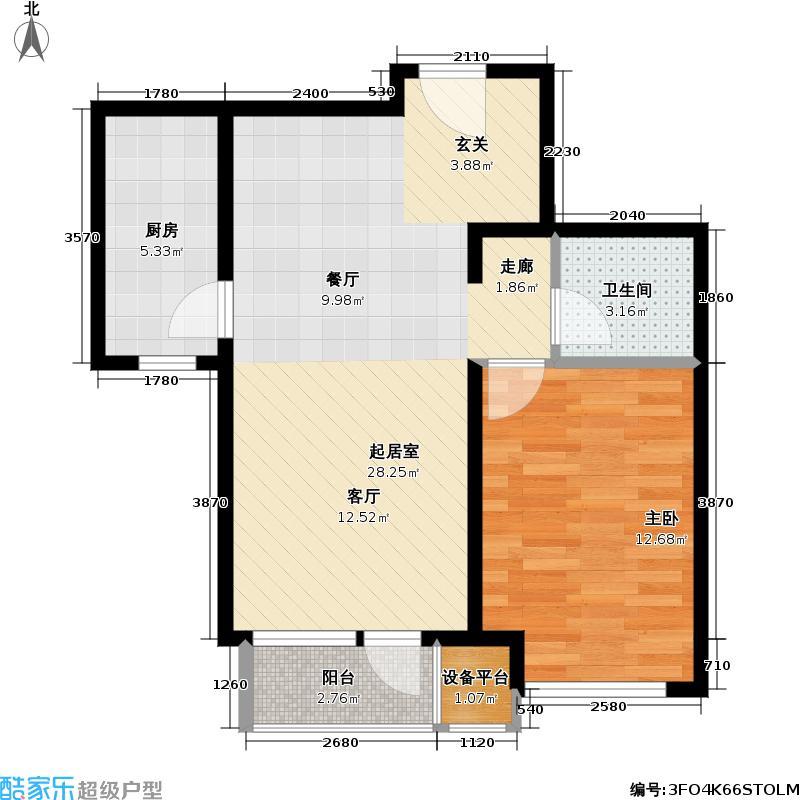 北京苏活65.89㎡北京苏活户型图四区1、2、3号楼4-B一室两厅一卫(2/2张)户型10室
