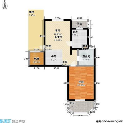 上泰绅苑1室1厅1卫1厨70.00㎡户型图