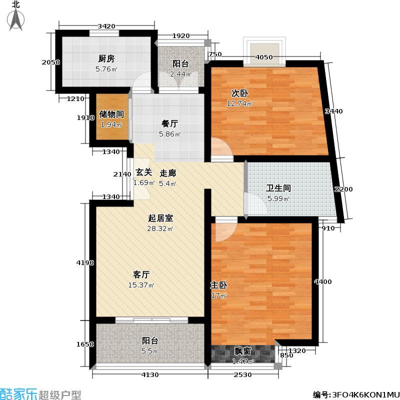 中梅苑二期92.00㎡房型: 二房; 面积段: 92 -106 平方米; 户型