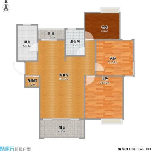 吴中豪景华庭3室1厅1卫1厨115.00㎡户型图