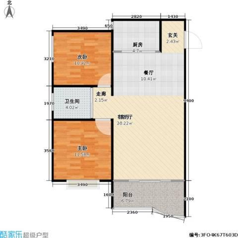 葛洪花园2室1厅1卫1厨78.00㎡户型图