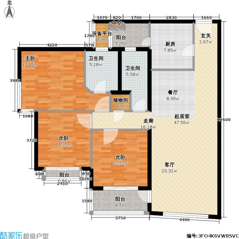 复星花园135平方米的三房两厅两卫南北户型