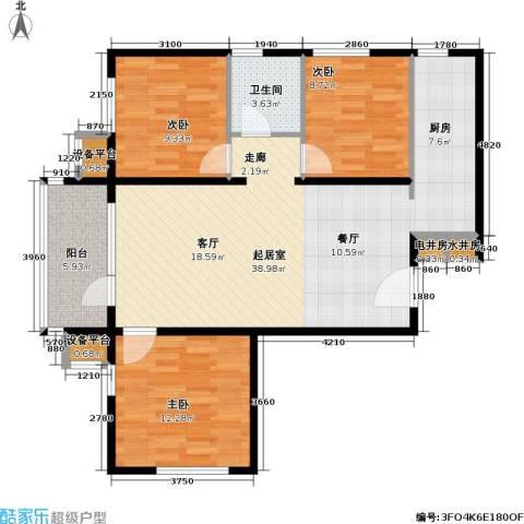 北京苏活3室0厅1卫0厨95.00㎡户型图