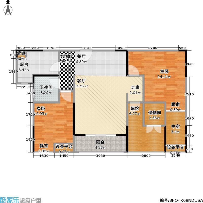 珠江国际商务港B5栋9号房套内72.6平米户型2室1厅1卫