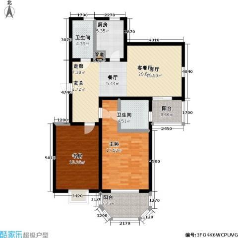 上泰绅苑2室1厅2卫1厨100.00㎡户型图