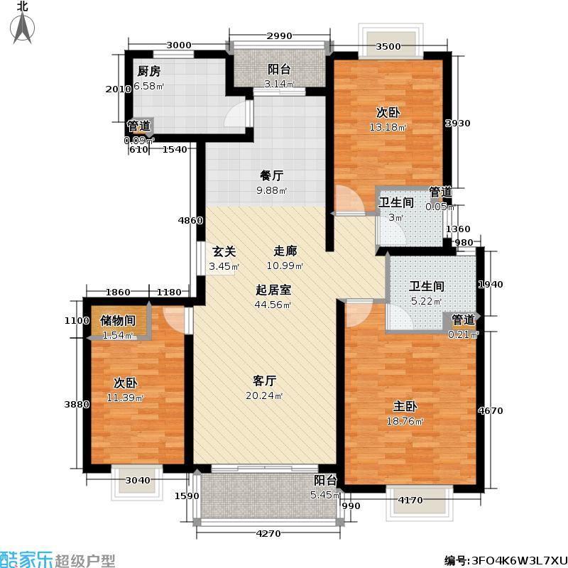 明安馨苑129.00㎡房型: 三房; 面积段: 129 -131 平方米; 户型