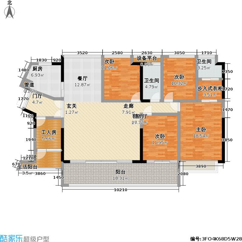 睿智华庭A栋A1+A2+工人房户型4室1厅2卫1厨
