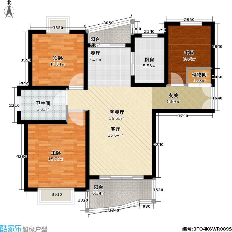 九歌茗园107.44㎡房型: 三房; 面积段: 107.44 -128.87 平方米; 户型