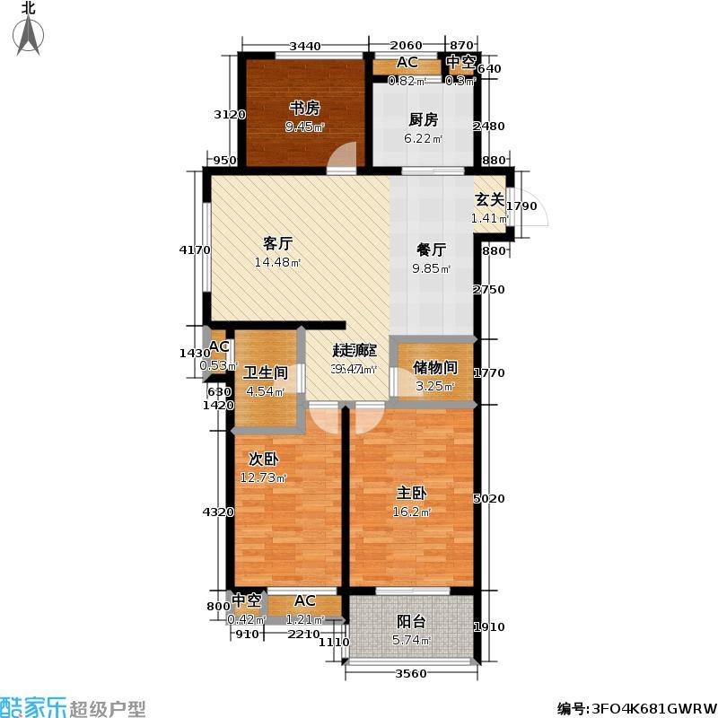 万科国际广场A1户型3室1卫1厨