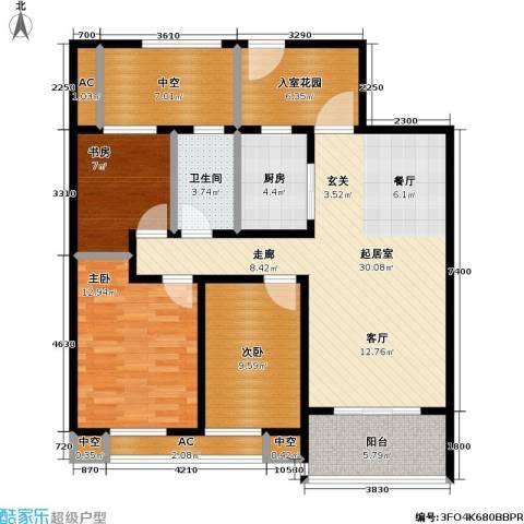 万科国际广场3室0厅1卫1厨105.00㎡户型图