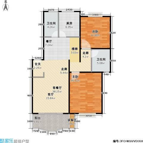 乾宁园2室1厅2卫1厨89.16㎡户型图