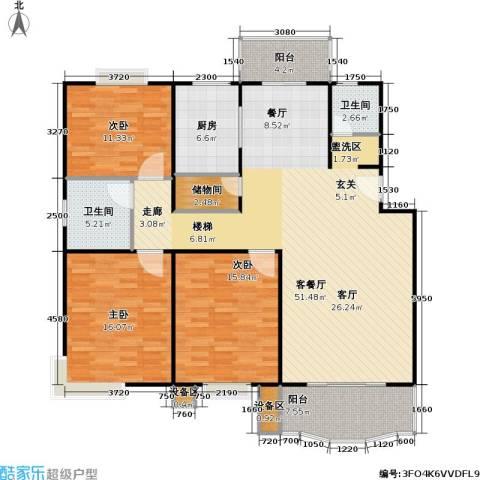 乾宁园3室1厅2卫1厨124.73㎡户型图