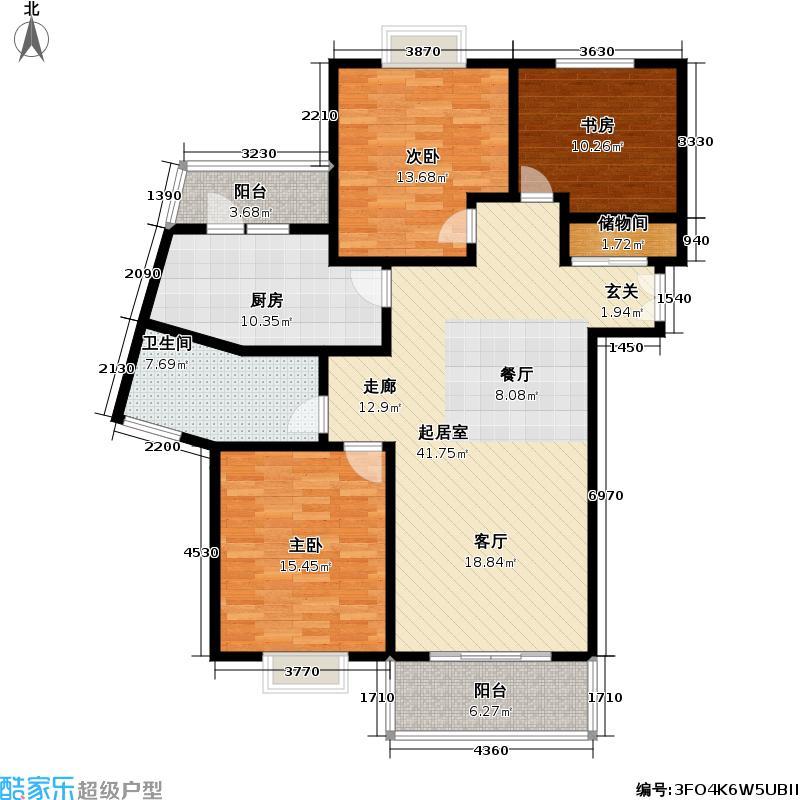 中通雅苑131.70㎡房型: 三房; 面积段: 131.7 -135 平方米; 户型