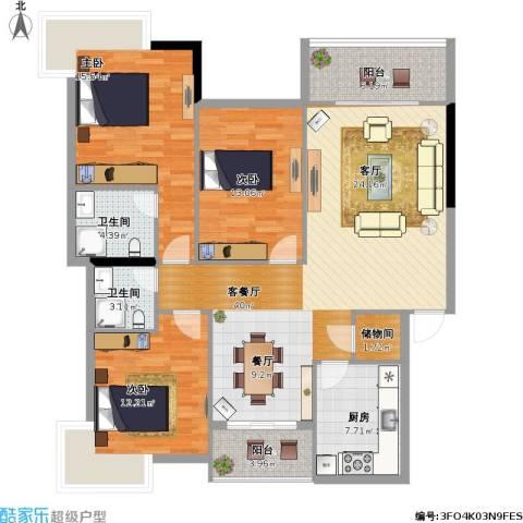 滨河苑3室1厅2卫1厨149.00㎡户型图