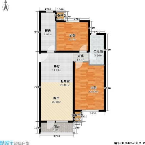 北京苏活2室0厅1卫1厨93.00㎡户型图