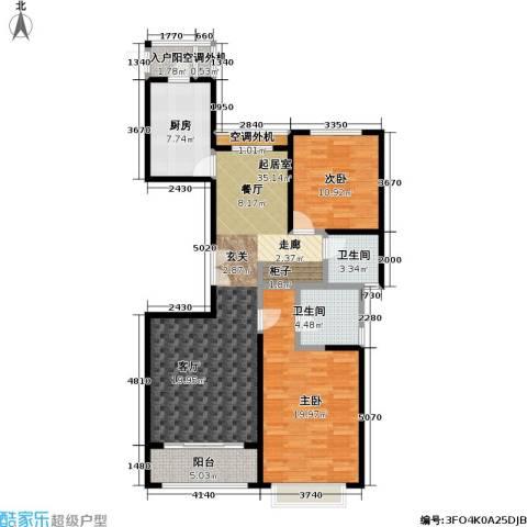宝华名邸2室0厅2卫1厨128.00㎡户型图