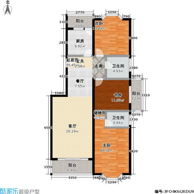 河畔明珠114.42㎡房型: 三房; 面积段: 114.42 -142.19 平方米;户型