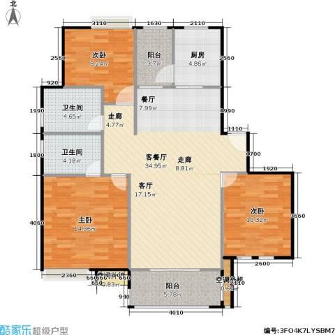 浔城湖锦3室1厅2卫1厨99.00㎡户型图