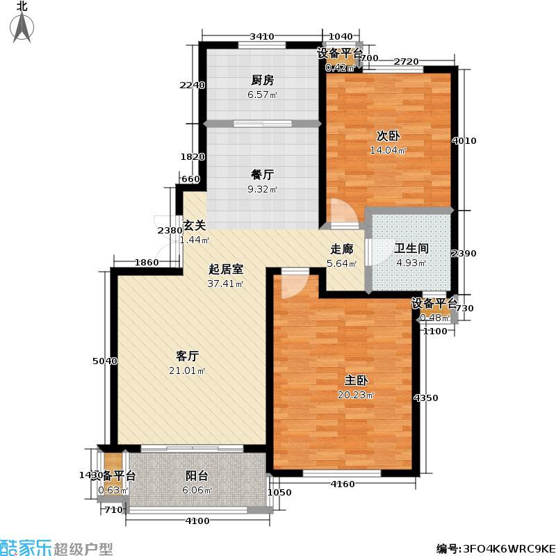 新时代景庭房型户型2室1卫1厨