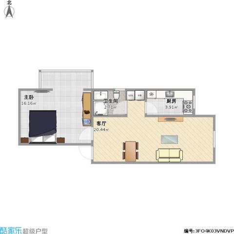西井小区1室1厅1卫1厨46.67㎡户型图