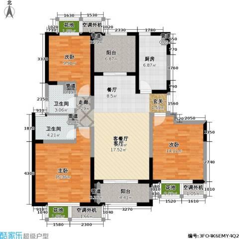 置地青湖语城3室1厅2卫1厨119.00㎡户型图