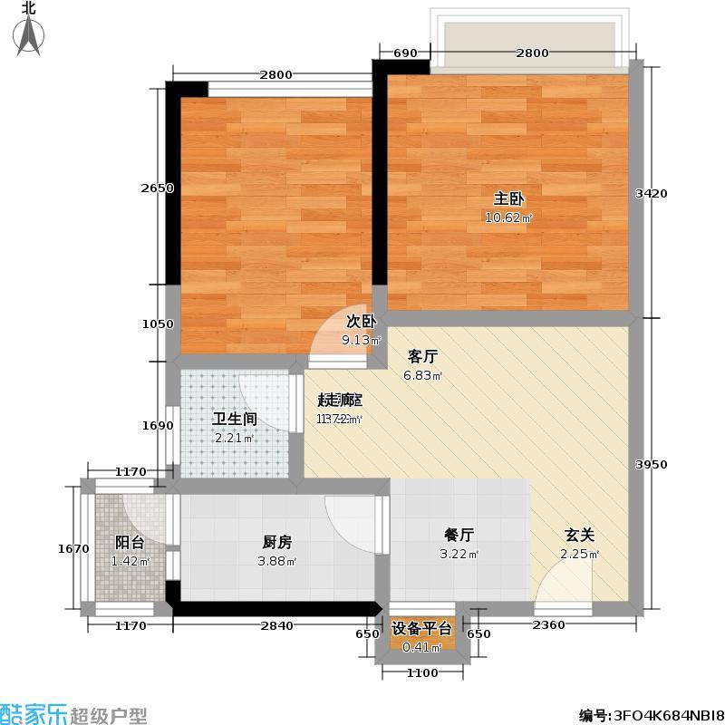 世纪新城P10户型2室1卫1厨