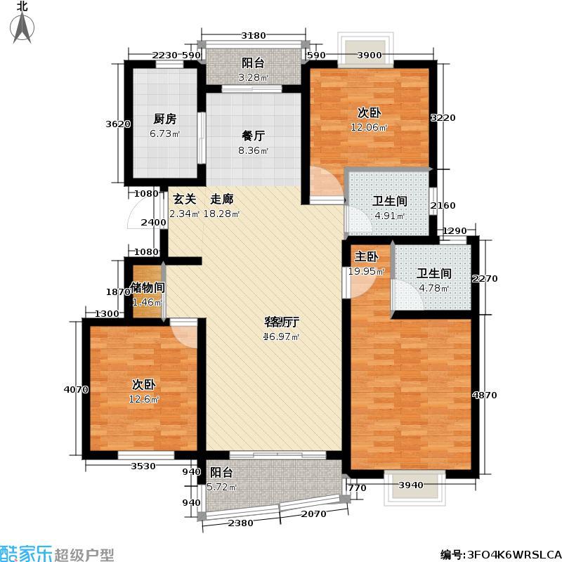 枫桦景苑二期房型户型3室1厅2卫1厨