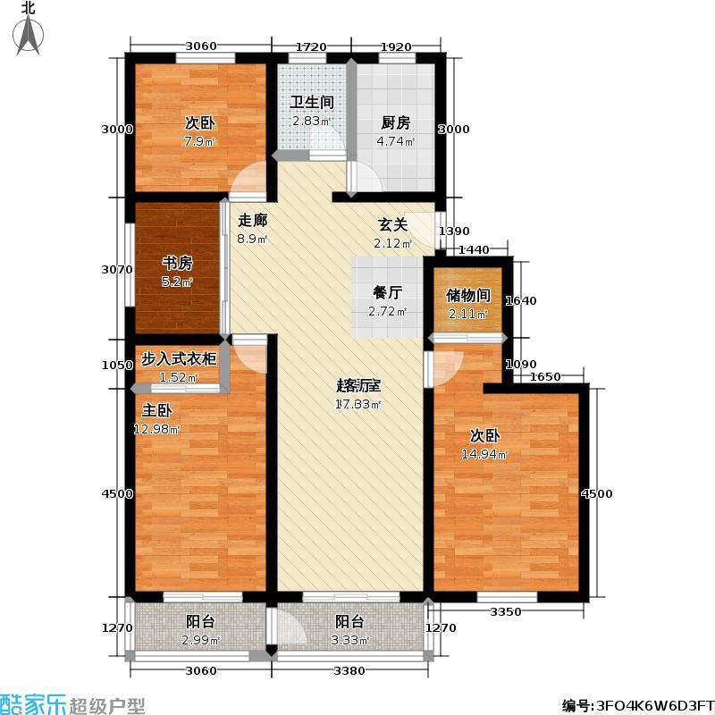 文化名园105.68㎡房型: 三房; 面积段: 105.68 -135.63 平方米; 户型