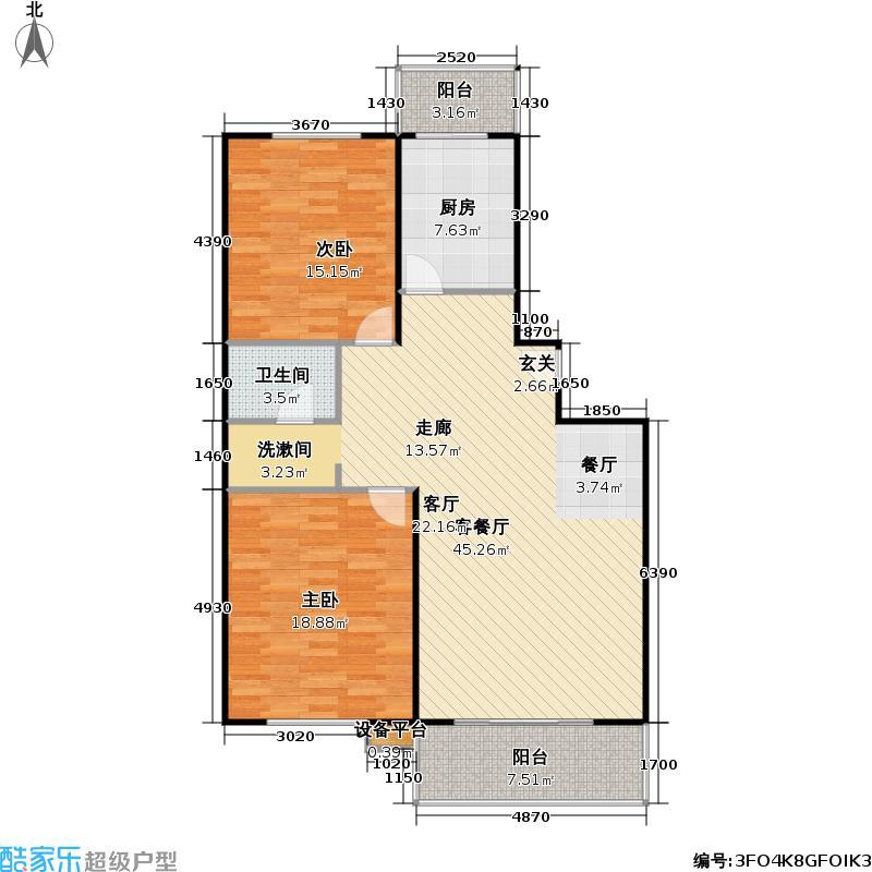 琳琅庄园108.00㎡二室二厅一卫一厨户型