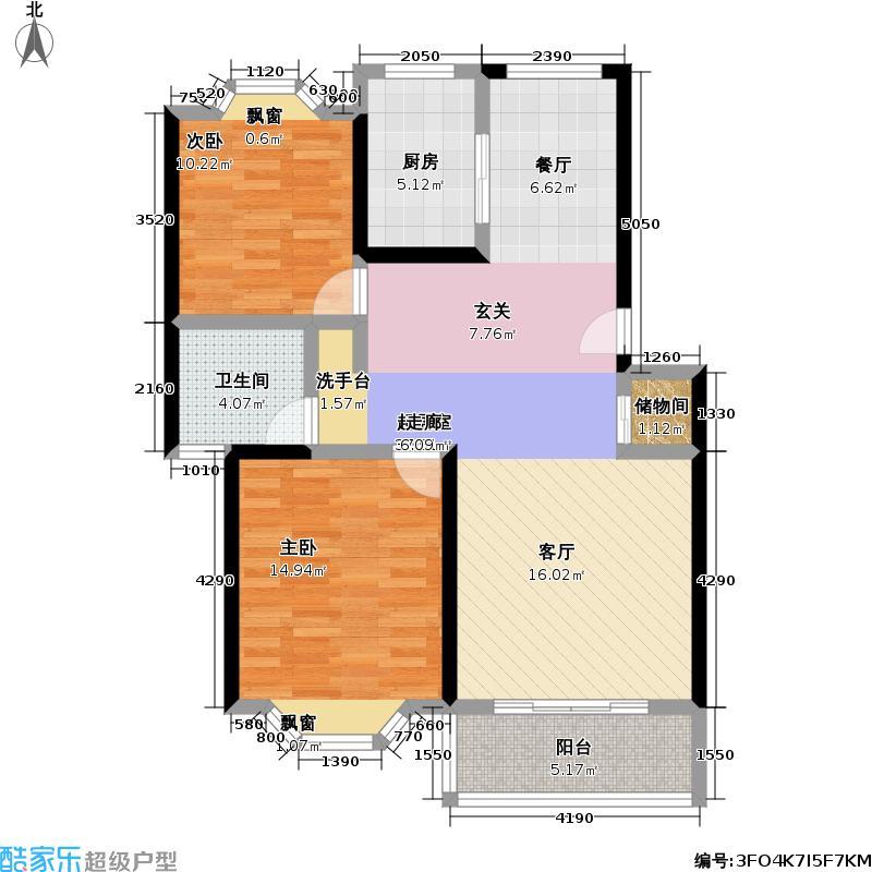海岸景苑90.00㎡房型: 二房; 面积段: 90 -110 平方米;户型