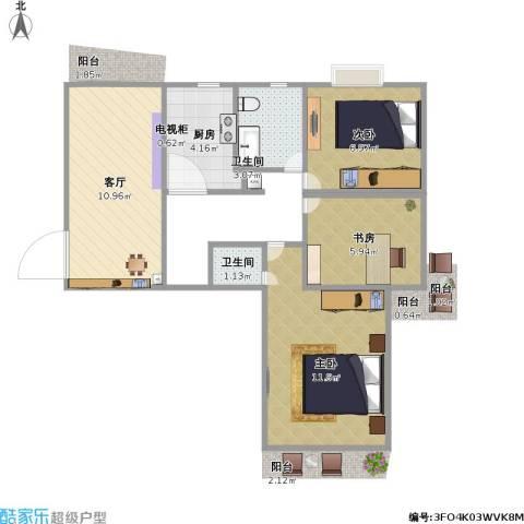 顺城一品3室1厅2卫1厨61.00㎡户型图