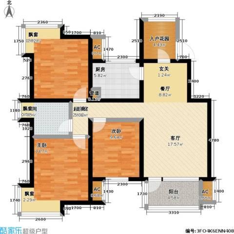 亿城左岸香颂3室0厅1卫1厨100.00㎡户型图