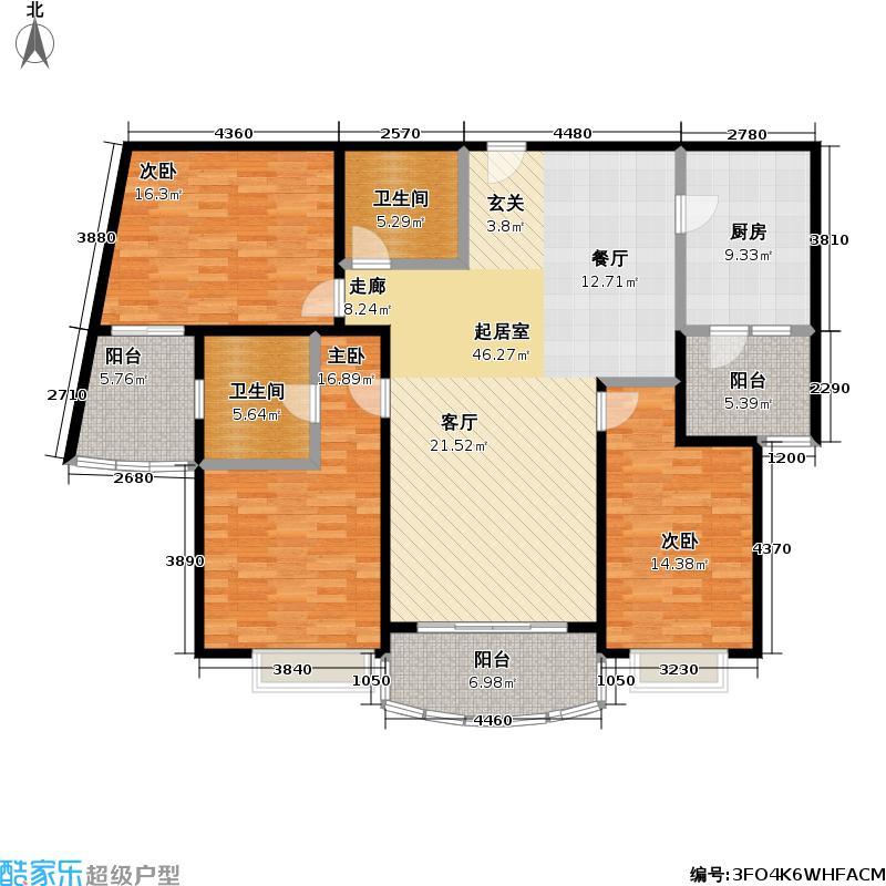 中远两湾城二期147.42㎡房型: 三房; 面积段: 147.42 -165.26 平方米;户型