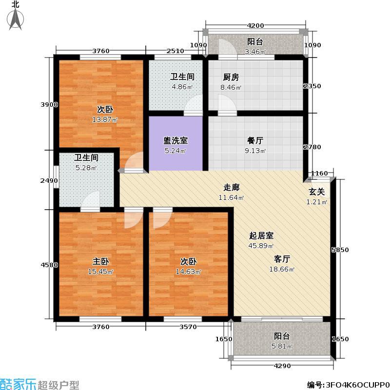 文怡花园130.00㎡房型: 三房; 面积段: 130 -134 平方米;户型