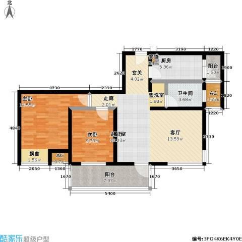 亿城左岸香颂2室0厅1卫1厨88.00㎡户型图