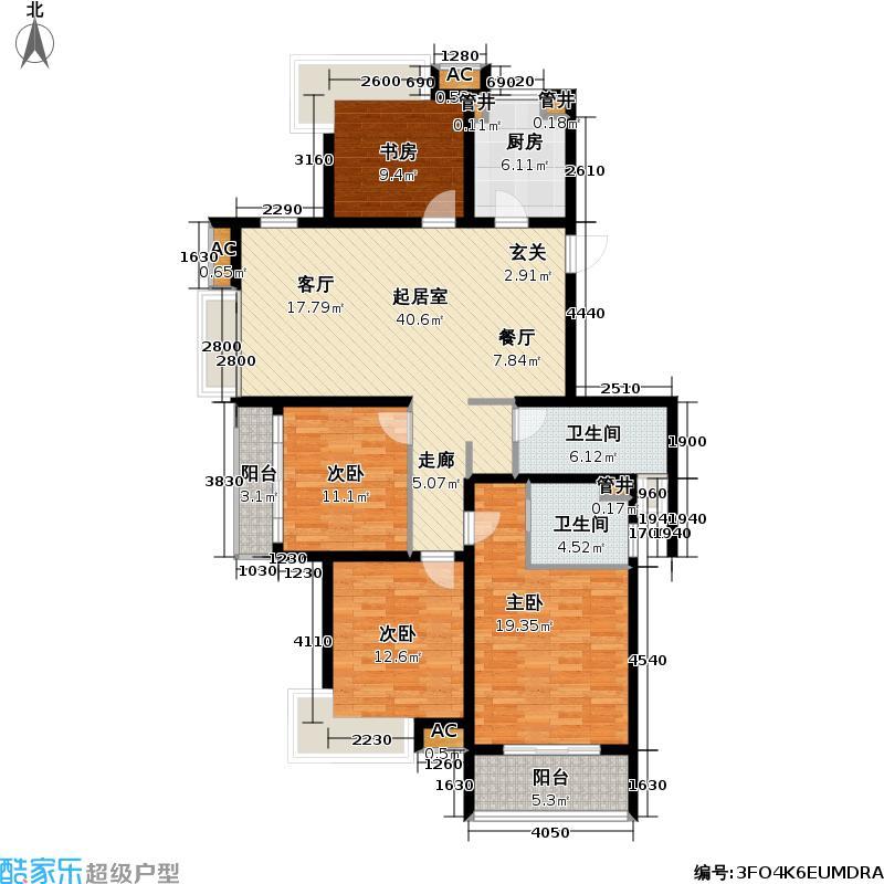 枫情水岸138.00㎡枫情水岸户型图V1户型四室两厅两卫(3/5张)户型4室2厅2卫