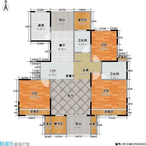 浙建枫华紫园3室1厅2卫1厨130.00㎡户型图