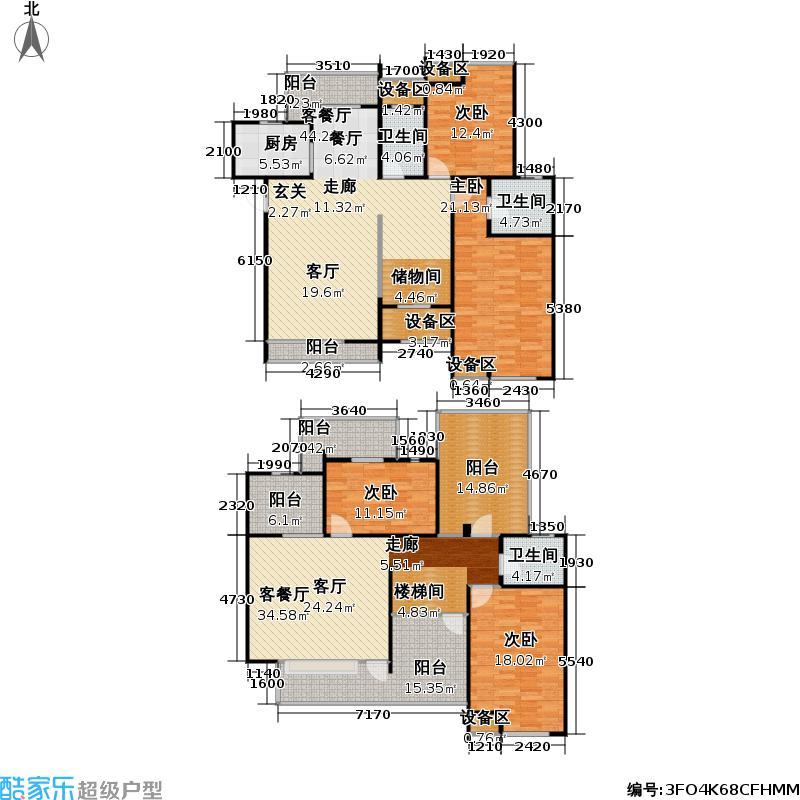 浙建枫华紫园A3花园洋房户型4室2厅3卫1厨