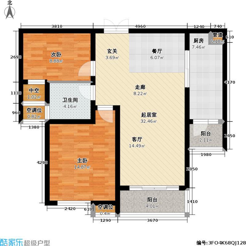 天安尚城89.00㎡天安尚城户型图89平米2房2厅1卫(1/3张)户型2室2厅1卫