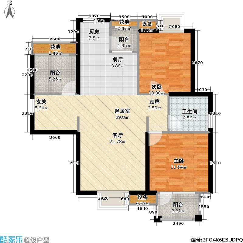 首开悦澜湾88.00㎡首开悦澜湾户型图小高层A1-2户型两室两厅一卫(24/42张)户型2室2厅1卫