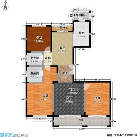 宝华名邸3室0厅2卫1厨168.00㎡户型图