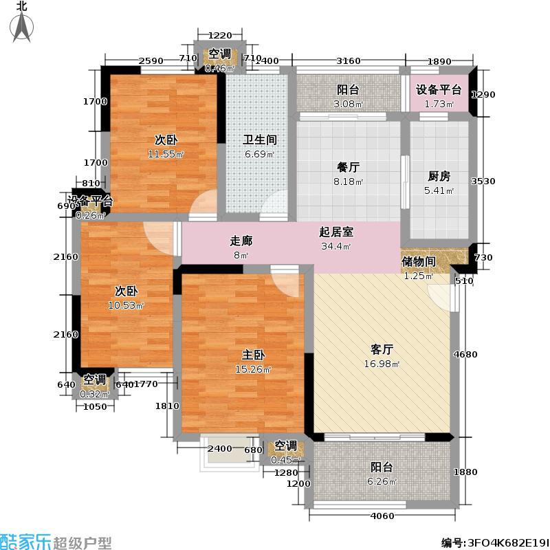 建邦华府8号楼B户型3室1卫1厨