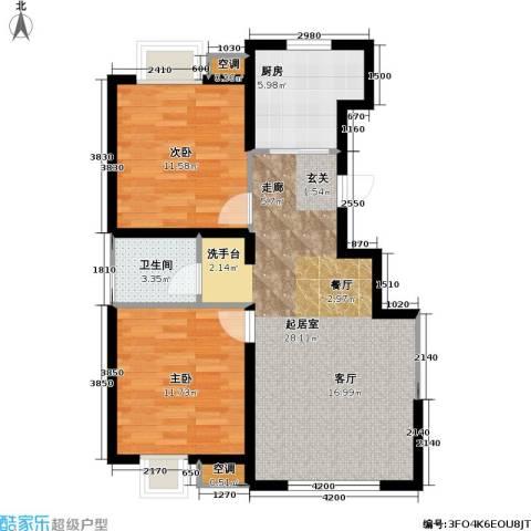 顺义金宝城2室0厅1卫1厨89.00㎡户型图