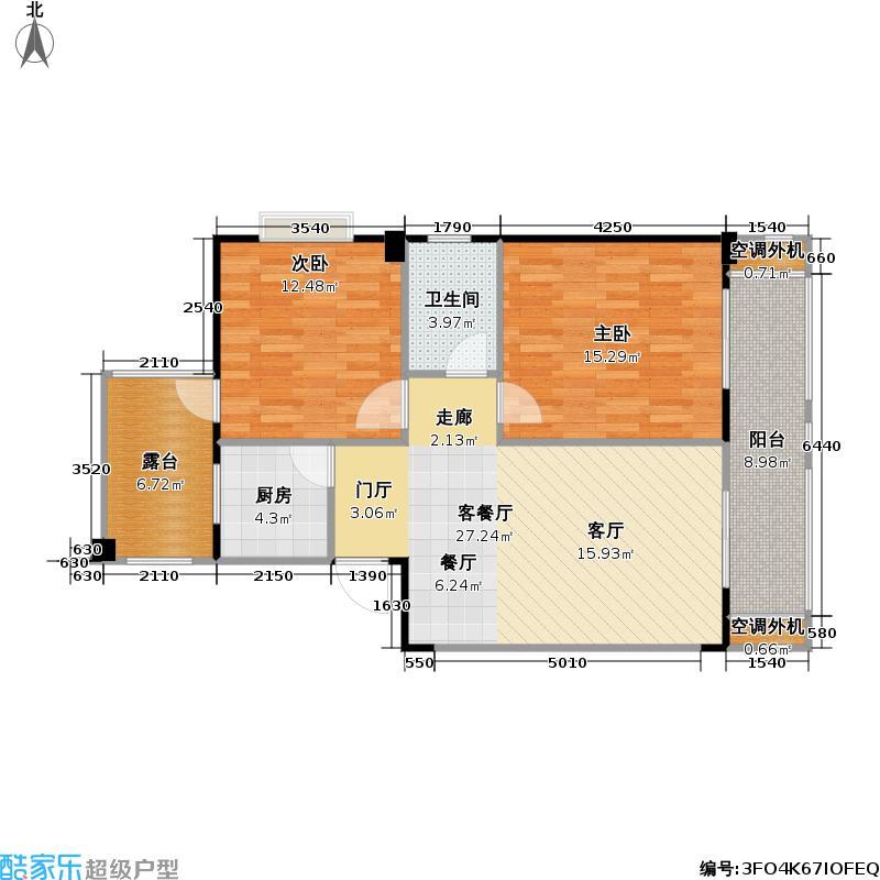 京华时代83.00㎡京华时代户型图B3户型二房二厅一卫(3/3张)户型10室