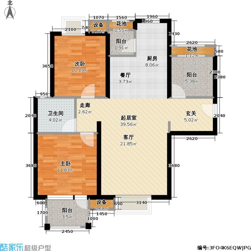 首开悦澜湾88.00㎡首开悦澜湾户型图小高层A3户型两室两厅一卫(27/42张)户型2室2厅1卫