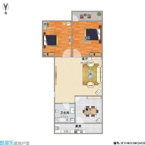 建鑫花园2室2厅1卫1厨107.08㎡户型图